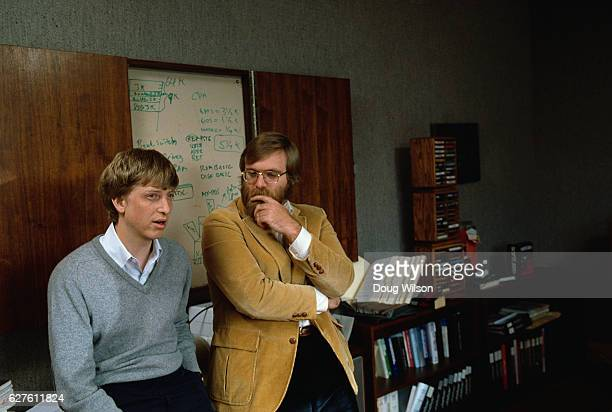 Microsoft Cofounders Bill Gates and Paul Allen pose for a portrait in 1984