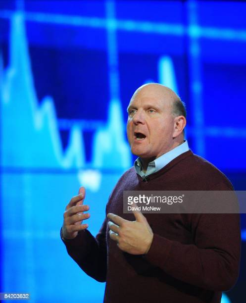 Microsoft Corp CEO Steve Ballmer delivers the keynote address at the Venetian during the 2009 International Consumer Electronics Show January 7 2009...