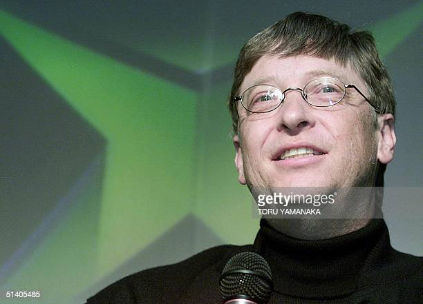 Microsoft Corp. Chairman Bill Gates answers questions during a press conference to introduce its Xbox home video game console at Shibuya shopping...