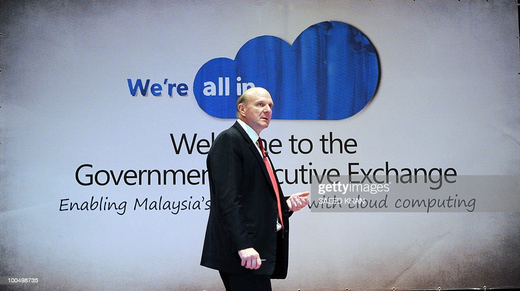 Microsoft Corp Chief Executive Officer Steve Ballmer gives a presentation in Malaysia's administrative capital Putrajaya on May 25, 2010. Ballmer announced the availability of microsoft online services in Malaysia called Cloud Computing. The technology brings togather the internet, PCs, mobile devices and data centers to pool knowledge and network resources to work together better. AFP PHOTO/Saeed KHAN