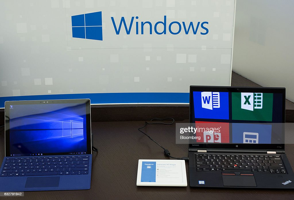 A Microsoft Corp. Windows software display is seen at a store in Bellevue, Washington, U.S., on Thursday, Jan. 26, 2017. Microsoft Corp.'s second-quarter sales and profit exceeded analysts' projections, bolstered by rising customer sign-ups for Azure and Office cloud-computing services. Photographer: David Ryder/Bloomberg via Getty Images