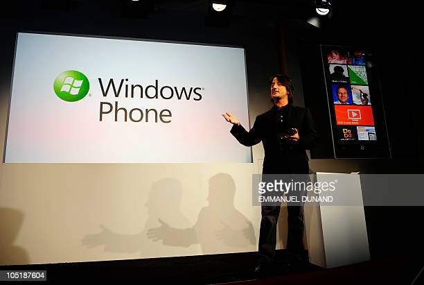 Microsoft Corporate Vice President Joe Belfiore introduces Windows Phone 7 a new mobile phone operating system as Microsoft seeks to regain ground...