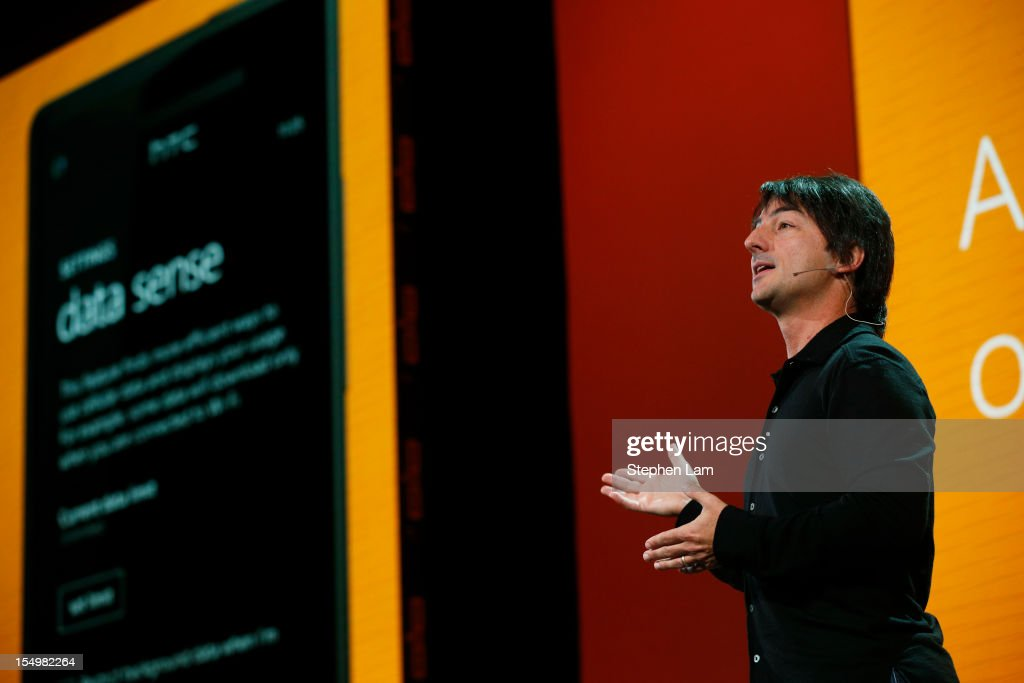 Microsoft Corporate Vice President Joe Belfiore unveils Windows Phone 8's Data Sense feature during a product launch at Bill Graham Civic Auditorium on October 29, 2012 in San Francisco, California. The Windows Phone 8 marks the Seattle-based company's latest update from its two-year-old Windows Phone 7 platform as the company looks to regain its traction in the increasingly dense smartphone segment dominated by rivals Apple and Google.