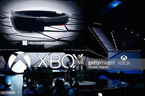 Microsoft corporate vice president Kudo Tsunoda introduces the Microsoft HoloLens during the Microsoft Xbox E3 press conference at the Galen Center...