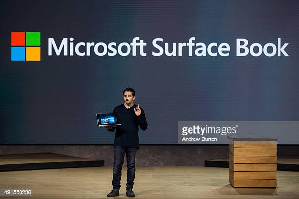 Microsoft Corporate Vice President Panos Panay introduces a new laptop titled the Microsoft Surface Book at a media event for new Microsoft products...