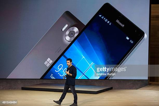 Microsoft Corporate Vice President Panos Panay introduces the Microsoft Lumia 950 and Lumia 950 XL at a media event for new Microsoft products on...
