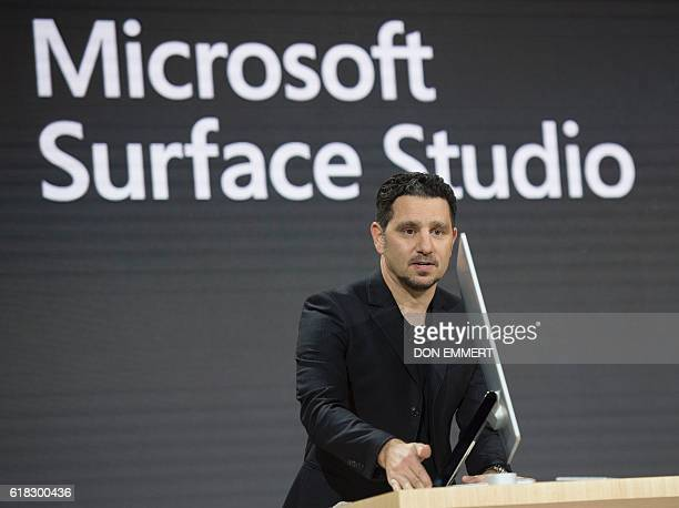 Microsoft Corporate VP of Devices Panos Panay introduces Microsoft Surface Studio at a Microsoft news conference October 26 2016 in New York / AFP /...