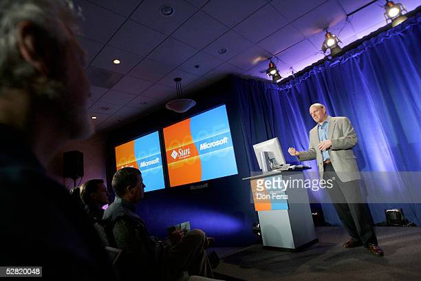 Microsoft Corporation CEO Steve Ballmer, address a crowd of reporters and analysts May 13, 2005 at the Garden Court Hotel in downtown Palo Alto,...