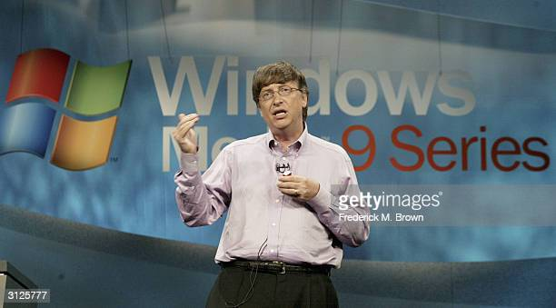 Microsoft Corporation Chairman and Chief Software Architect Bill Gates speaks at the launch of Windows Media 9 Series on September 4 2002 in...