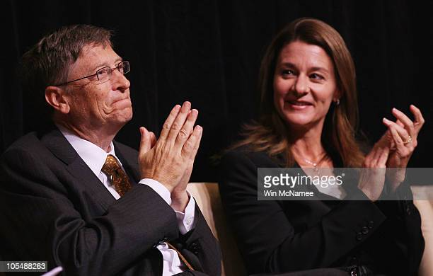 Microsoft Corporation Chairman Bill Gates and his wife Melinda attend a ceremony presenting them with the 2010 J William Fulbright Prize for...