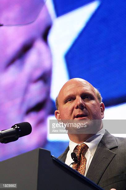 Microsoft Corporation Chief Executive Officer Steve Ballmer addresses the 21st Century Workforce Summit June 20 2001 in Washington DC