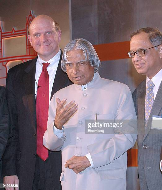 Microsoft Corporation Chief Executive Officer Steve Ballmer left with Indian President APJ Abdul Kalam right and Infosys Chief Mentor N R Narayana...