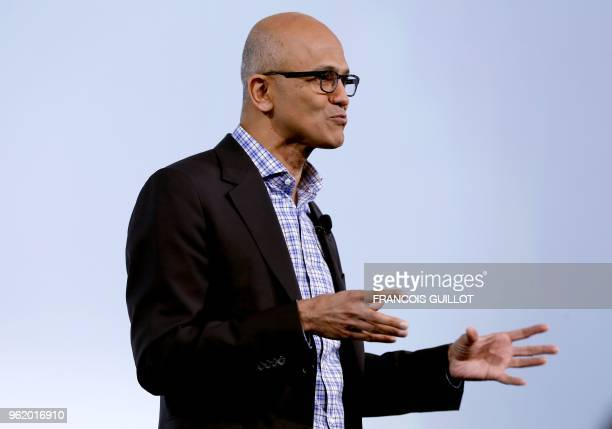 Microsoft Corporation chief executive Satya Nadella speaks during the presentation of the digital personal assistant named 'Marcel' created for...