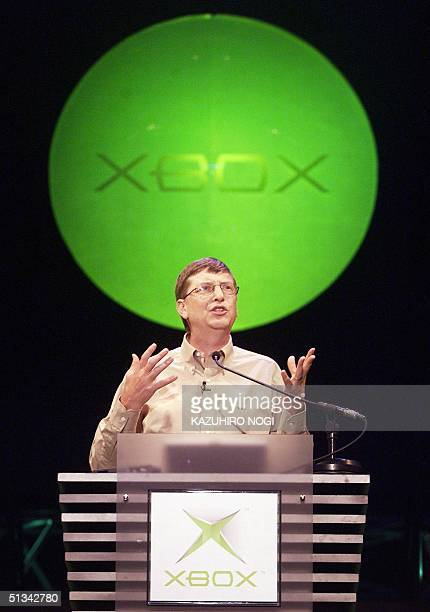 Microsoft Corp.'s co-founder Bill Gates delivers his keynote speech at the opening of the Tokyo Game Show Spring 2001 in Makuhari, Chiba Prefecture...