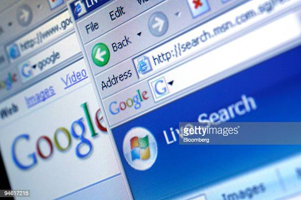 Microsoft Corp's 'Live Search' search engine is placed near Google Inc's search engine for a photograph in Mumbai India on Thursday Sept 27 2007...