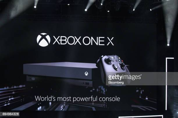 Microsoft Corp's Xbox One X video game console is revealed during the company's event ahead of the E3 Electronic Entertainment Expo in Los Angeles...