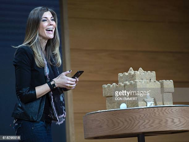 Microsoft executive Megan Saunders introduces Paint 3D at a Microsoft news conference October 26 2016 in New York / AFP / DON EMMERT