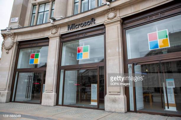 Microsoft Flagship Store in Oxford Street is pictured closed.