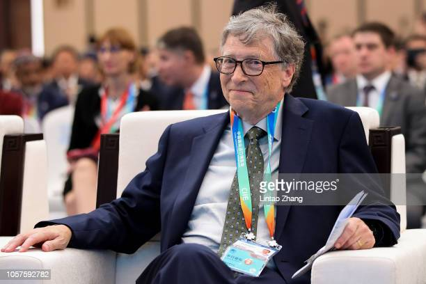 Microsoft founder Bill Gates attends a forum at the first China International Import Expo at the National Exhibition and Convention Centre on...