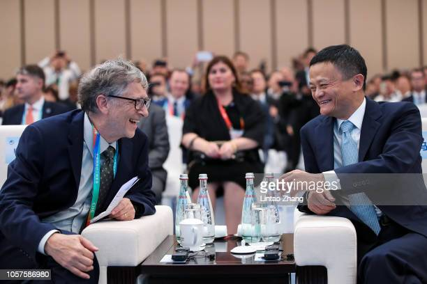 Microsoft founder Bill Gates talks with Alibaba Chairman Jack Ma bfore duirng the Hongqiao International Economic and Trade Forum in the China...