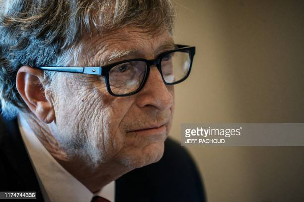 US Microsoft founder CoChairman of the Bill Melinda Gates Foundation Bill Gates takes part in a conference call on October 9 in Lyon central eastern...