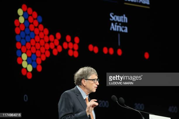 Microsoft founder, Co-Chairman of the Bill & Melinda Gates Foundation, Bill Gates delivers a speech during the conference of Global Fund to Fight...
