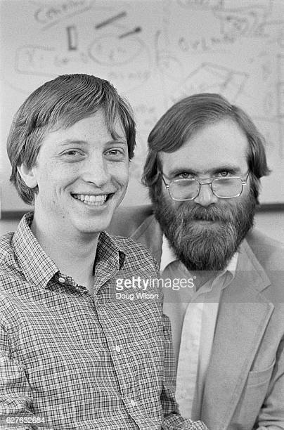 Microsoft founders Bill Gates and Paul Allen in 1983 just after completing MS Dos for the Tandy laptop and signing a contract to write MS Dos for IBM...