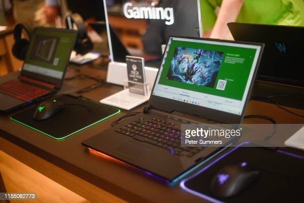 Microsoft gaming laptop on display at the Microsoft store opening on July 11 2019 in London England Microsoft opened their first flagship store in...
