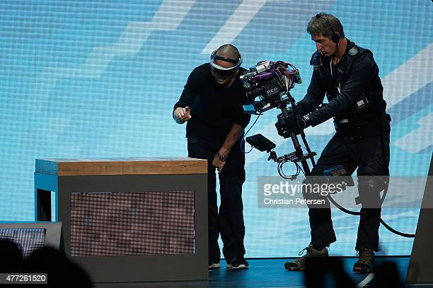 Microsoft HoloLens is demonstrated during the Microsoft Xbox E3 press conference at the Galen Center on June 15 2015 in Los Angeles California The...