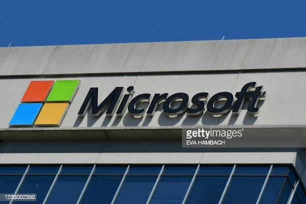 Microsoft logo adorns a building in Chevy Chase, Maryland on May 19, 2021. - Microsoft said it is retiring Internet Explorer, the browser it created...