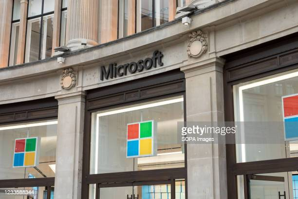 Microsoft logo is seen at one of their stores on Oxford Street in London.
