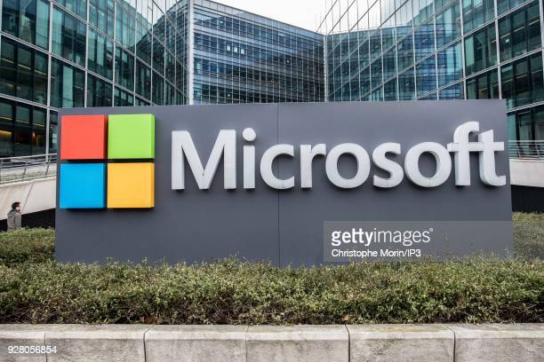 Microsoft logo on Microsoft France campu which inaugurates the IA Microsoft School on March 6 2018 in IssylesMoulineaux France The American IT...