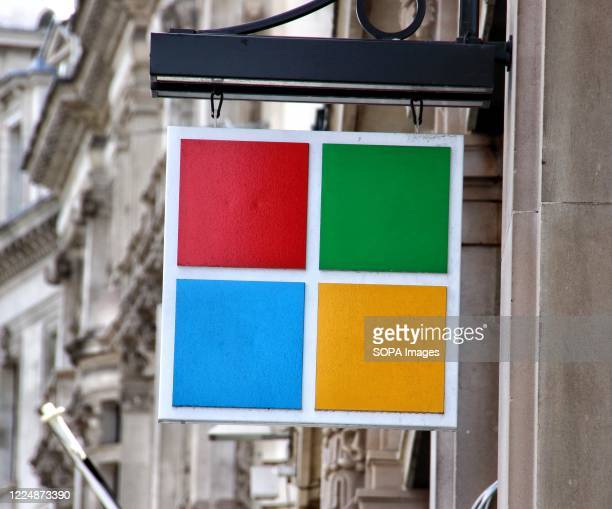 Microsoft logo seen at one of their stores. Microsoft has said it will keep all of its retail locations closed permanently, including London's...