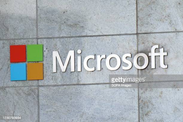 Microsoft logo seen at their building in Bellevue. Microsoft will publish fiscal year 2021 second-quarter financial results on January 26.