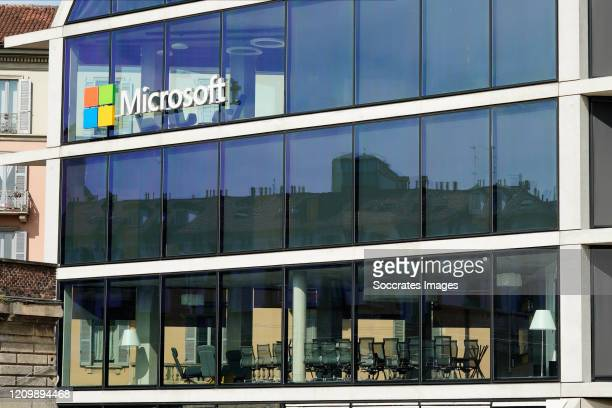 Microsoft offices are seen closed in Milan due to the coronavirus lockdown aimed at curbing the spread of the COVID-19 infection, on April 12, 2020...