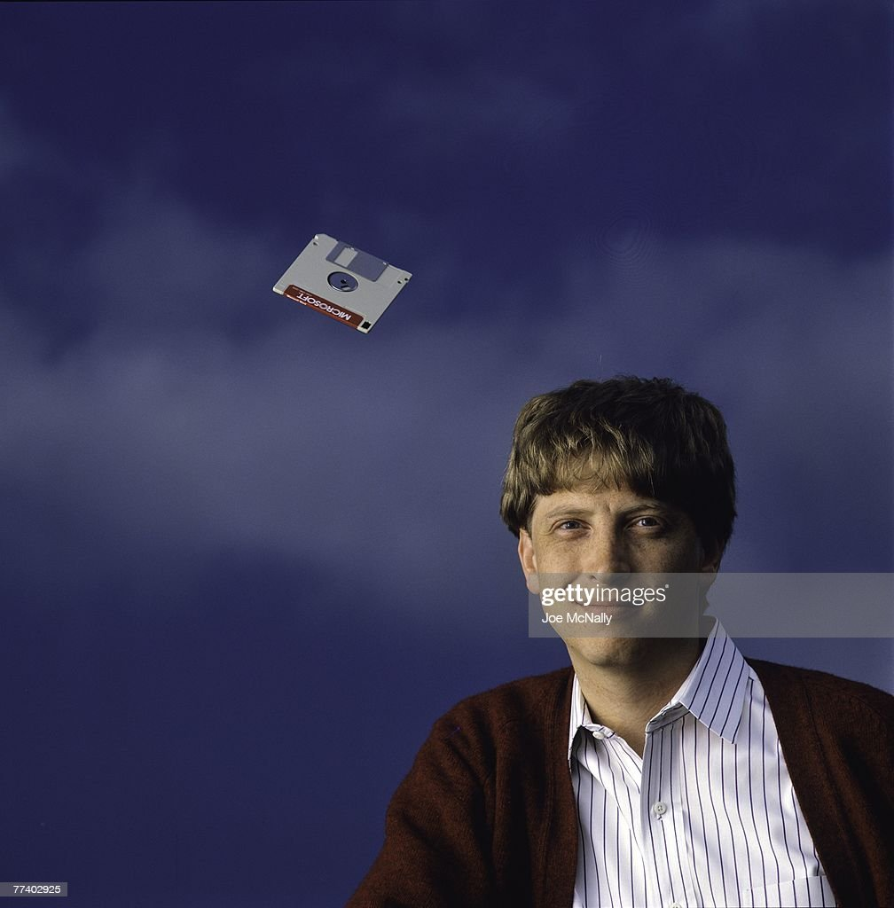 Microsoft owner and founder Bill Gates poses with a hovering floppy disk in 1986 at the new 40-acre corpororate campus in Redmond, Washington. In March, Microsoft held an initial public offering of 2.5 million shares. By the end of the year, Gates became a billionaire at the age of 31. Microsoft was the first company to dominate the personal computer market with it's MS-DOS system and subsequently the Windows platform.