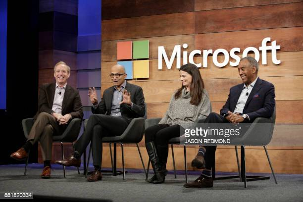 Microsoft President and Chief Legal Officer Brad Smith CEO Satya Nadella Chief Financial Officer Amy Hood and Chairman John Thompson take questions...