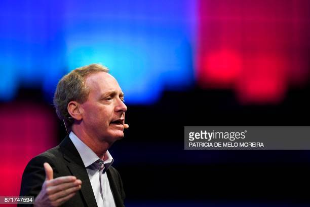 Microsoft president and chief legal officer Brad Smith delivers a speech during the 2017 Web Summit in Lisbon on November 8 2017 Europe's largest...