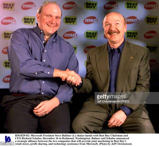 Microsoft President Steve Ballmer shakes hands with Best Buy Chairman and CEO Richard Schulze December 16 in Redmond Washingtion Balmer and Schulze...