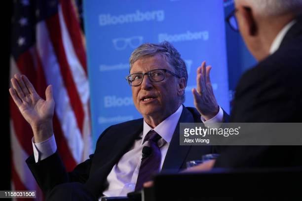 Microsoft principle founder Bill Gates participates in a discussion during a luncheon of the Economic Club of Washington June 24 2019 in Washington...