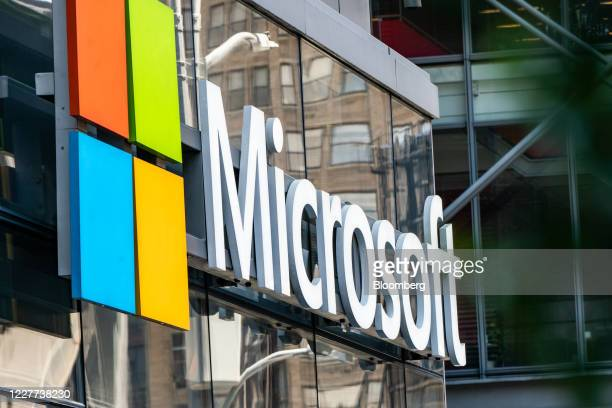Microsoft signage is displayed outside a Microsoft Technology Center in New York, U.S., on Wednesday, July 22, 2020. Microsoft Corp.Is set to post...