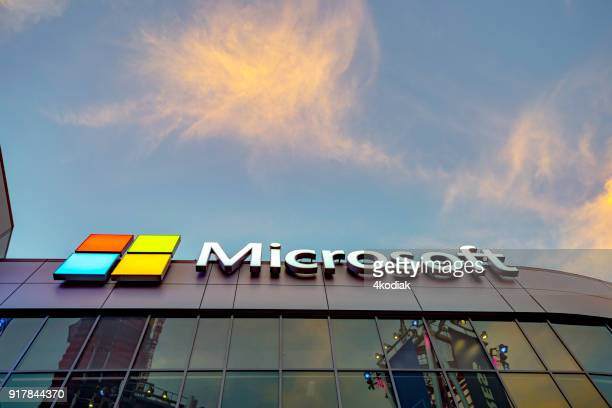 microsoft square in downtown los angeles - microsoft stock pictures, royalty-free photos & images