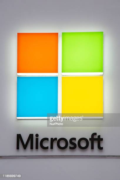 A Microsoft store entrance with the company's logo on top in midtown Manhattan at the 5th avenue in New York City US on 11 November 2019 Microsoft...