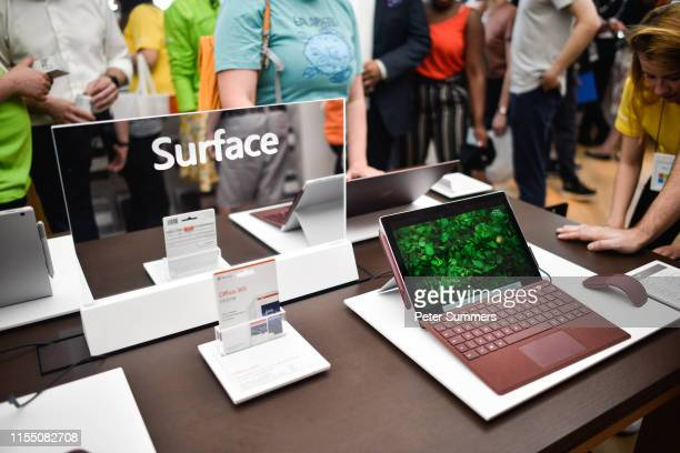 Microsoft Surface device on display at the Microsoft store opening on July 11 2019 in London England Microsoft opened their first flagship store in...