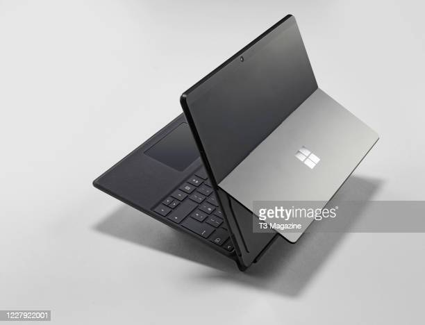 A Microsoft Surface Pro X tablet and keyboard taken on January 7 2020