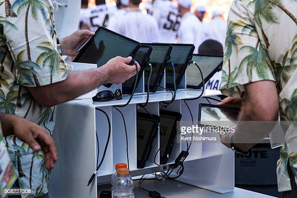 Microsoft Surface tablets on the Team Rice sideline during the second half of the 2016 NFL Pro Bowl at Aloha Stadium on January 31 2016 in Honolulu...