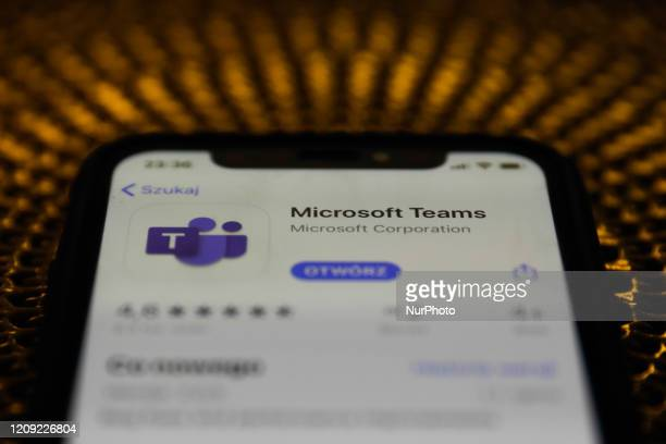 Microsoft Teams app is seen displayed on phone screen in this illustration photo taken in Poland on April 6 2020