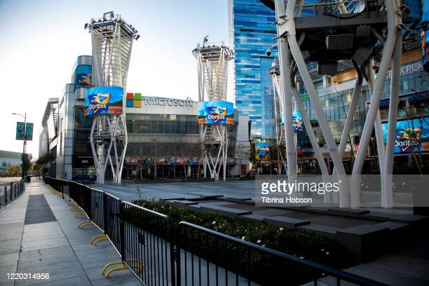 Microsoft Theater at LA Live remains closed in Los Angeles due to restrictive Coronavirus measures on April 21, 2020 in Los Angeles, California....