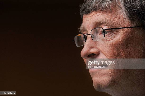 Microsoft tycoon Bill Gates is pictured during a television interview at the GAVI conference in London on June 13 2011 Britain and Bill Gates joined...