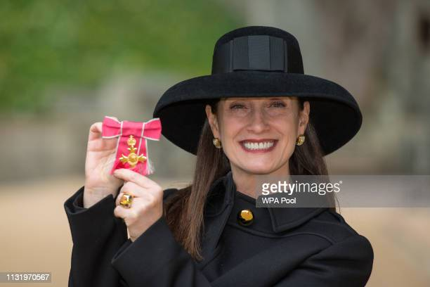 Microsoft UK CEO Cindy Rose with her OBE medal awarded by Queen Elizabeth II at an investiture ceremony at Windsor Castle on March 22 2019 in Windsor...